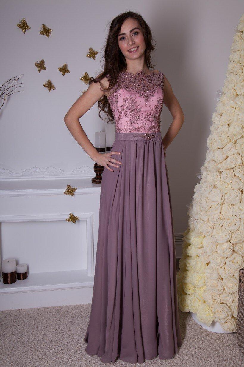 Лілова вечірня сукня